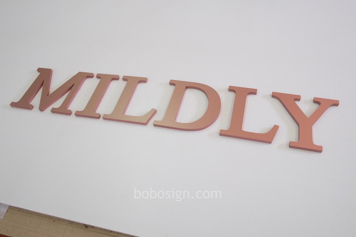 อักษรพลาสวูด MILDLY